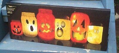 Decor Halloween canvas light up with mason jars flickering candle battery op Wow (Light Up Mason Jars)