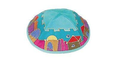 PAINTED SILK JEWISH KIPPAH - JERUSALEM - yamaka cap hat yarmulke kipa