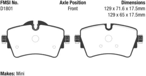 Disc Brake Pad Set-EBC Redstuff Ceramic Low Dust Brake Pads Front fits Cooper