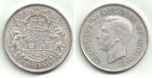 Canada 1946 Silver Half Dollar in Lightly Circulated Condition ~