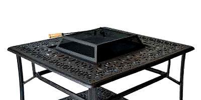 Outdoor Fire Pit Coffee Table Elisabeth Patio Cast Aluminum Furniture Bronze ()