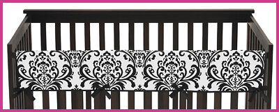 Front Crib Rail Cover (Long Front Rail Guard Baby Girl Teething Black White Damask Cover Crib)