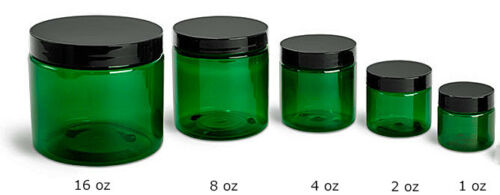 2, 4, or 8 oz Green PET Straight Sided Plastic  Jars w/Smooth Plastic Black Cap