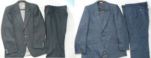 Men's 100% Wool 2 Piece Suits - Dark Grey or Dark Blue