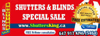 Shutters and Zebra Blinds Special sale