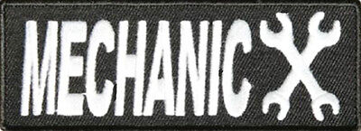 MECHANIC Embroidered  SEW ON IRON ON 4 inch BIKER PATCH