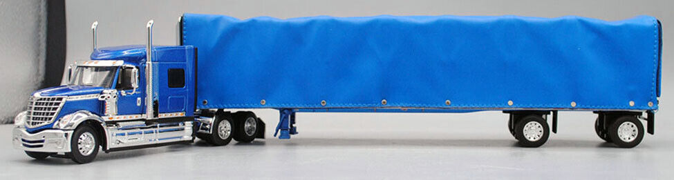 DCP FIRST GEAR 1/64 SCALE INTERNATIONAL LONESTAR BLUE WITH CURTAIN SIDE TRAILER