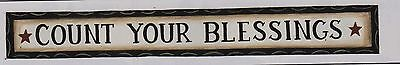 Country Inspirational Chunky Carved Wood Shelf Sign COUNT YOUR BLESSING Religio