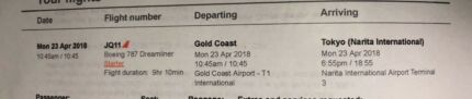 Return Airline ticket from Gold Coast to Japan, Tokyo Narita