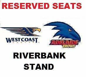 3 RIVERBANK STAND Adelaide Crows v WEST COAST EAGLES Tickets Adelaide CBD Adelaide City Preview