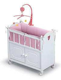 White Doll Crib With Cabinet- Bedding and Mobile-01721