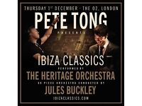 2 X seated tickets for Pete Tong and the Heritage Orchestra Ibiza classics. The O2 in London
