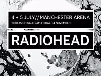 Radiohead 2 x Standing tickets - 5th July - Manchester Arena