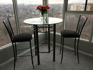 Pub Style Round Glass Table with chairs