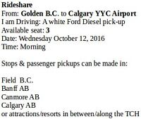 From: Golden B.C. to Calgary YYC Airport