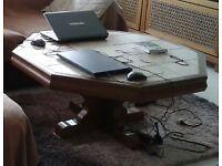 Octagonal massive living room coffee table
