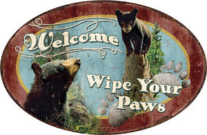 METAL SIGN--Oval--12 X 16 3/4-Welcome, Wipe your paws-Embossed Bear Sign