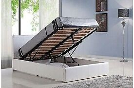 STRONG & STURDY MATERIAL GAS LIFT UP DOUBLE OTTOMAN STORAGE BED FRAME NEW CHEAP PRICE