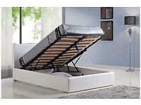 Comfortable Bed DOUBLE LEATHER STORAGE OTTOMAN GAS LIFT BED FRAME