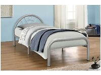 Solo Silver Single Metal Bed Frame