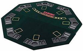 Poker Table Top for 8 Players with Poker Chip Trays and Drink Holders