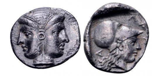 AC#HS Ancient Mysia Lampsakos AR Diobol Circa 400-300 BC Coin 1.5g 12mm