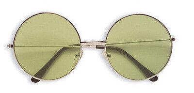 60er 70er Jahre Hippie grüne Brille, rund Hippiebrille Fever Partybrille grün