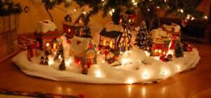 2 LIGHTED CHRISTMAS VILLAGE MINIATURE HOUSES FOR YOUR COLLECTION