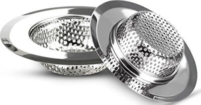 "Set of 2 Stainless Steel Sink Strainer 4.5"" Drain Cover Bathroom Utopia Kitchen"