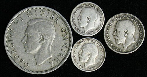 Lot of 4 Great Britain 3, 6 Pence, Half Crown 1913 1914 1913 1948 3 are silver