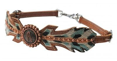 Showman Teal Painted Cutout Feathers Leather Wither Strap Copper Concho 2 Snaps