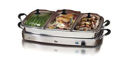 Stainless Steel Buffet Server 3 Warming Tray Three Pans Party Food Warmer 2.5QT - Buffet Warmer
