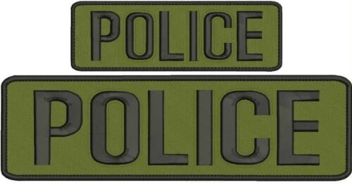 """Police"" embroidery patch 3x10 and 2x6 inches hook OD green"