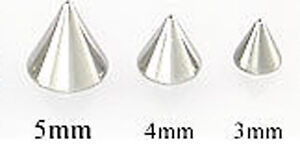 4-FOUR-16-GA-THREADED-REPLACEMENT-STAINLESS-STEEL-CONES-SPIKES-3MM-4MM-5MM