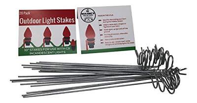 Christmas Lights Lawn Stakes - Lawn Stakes for Christmas Lights- Galvanized Steel Wire 10 in Long 20 per Pack