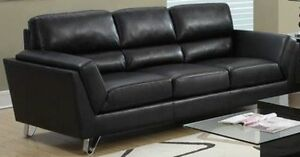 SOFA OR 3 SEATS COUCH IN BLACK BONDED LEATHER WITH CHROME FEET