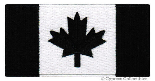 CANADIAN FLAG EMBROIDERED IRON-ON PATCH CANADA EMBLEM ALL BLACK VERSION