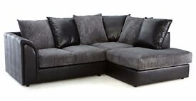 ***BLACK GREY , BROWN BEIGE***BRAND NEW JUMBO CORD BYRON CORNER / 3+2 SOFA SET -GET IT TODAY