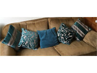 Cushions X 5 turquoise/grey fire resistant