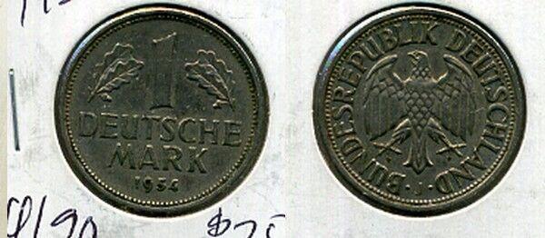 GERMANY 1954 J 1 MARK COIN XF 2018B