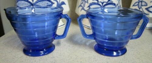 Hazel Atlas Moderntone Depression Glass Cobalt Blue Sugar & Creamer