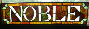 HISTORICAL CALGARY NOBLE HOTEL LEADED/STAINED GLASS SIGN