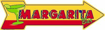 "MARGARITA BAR ARROW SIGN  20"" X 6"" METAL TIN GARAGE GAME ROOM BAR MAN CAVE PUB"