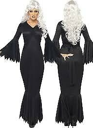 BLACK VAMP / MORTICIA ADDAMS FAMILY FANCY DRESS OUTFIT 12/14 GREAT FOR HALLOWEEN