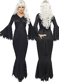 BACK MIDNIGHT VAMP DRESS OR MORTICIA ADDAMS FAMILY WITH BLACK WIG SIZE 12/14