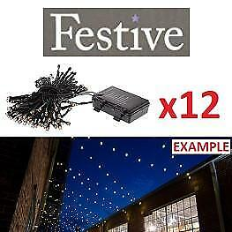 NEW 12PK CHRISTMAS STRING LIGHTS P019135 213327502 FESTIVE WARM WHITE BATTERY OPERATE TIMER LED 200 BULBS PER PACK 24...
