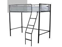 Black Metal Frame Single Loft Bed