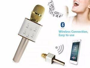 WIRELESS BLUETOOTH HANDHELED KTV KARAOKE 2 IN 1 MICROPHONE & SPEAKER FOR SMARTPHONES_GOLD