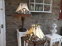 A pair of large Tiffany Style Lamps with Crystal Drops