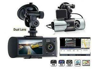 Promo! (NEW) R300 Dual Lens Dashboard Camera with 2.7inch 169 Screen, GPS Tracker Car Vehicle Front _ Inside Camera Reco